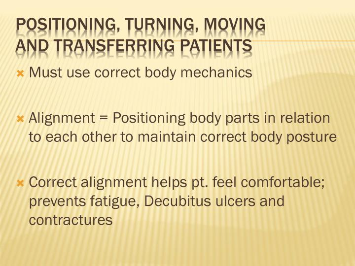 Positioning turning moving and transferring patients