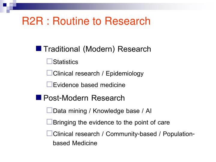 R2R : Routine to Research