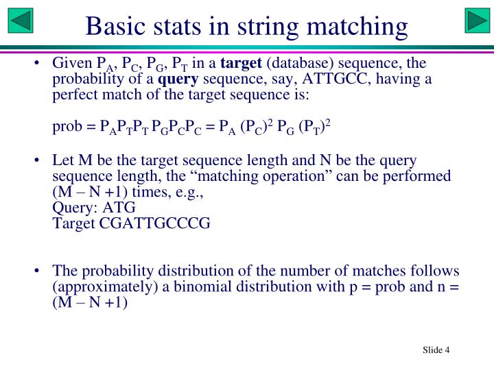 Basic stats in string matching