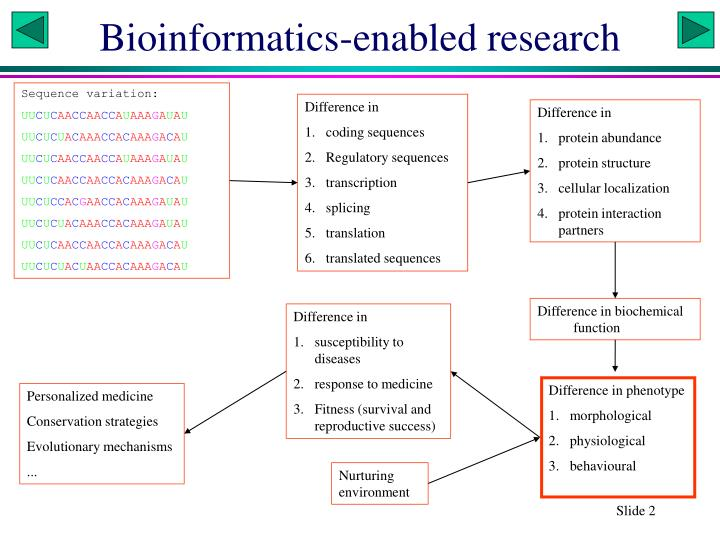 Bioinformatics enabled research