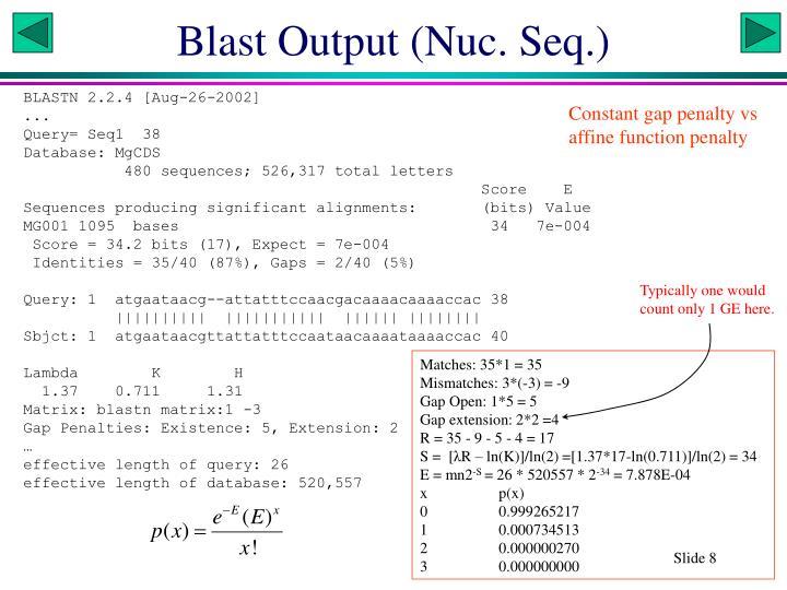 Blast Output (Nuc. Seq.)