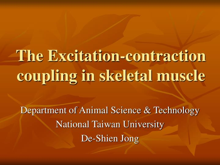 the excitation contraction coupling in skeletal muscle n.
