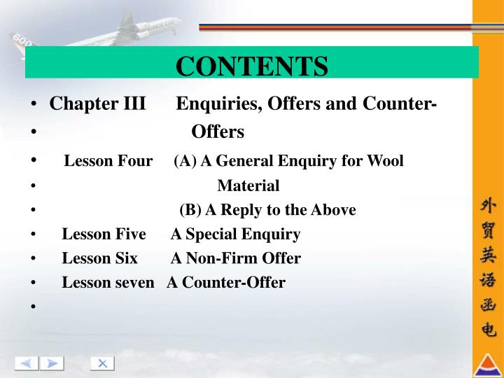Chapter III      Enquiries, Offers and Counter-