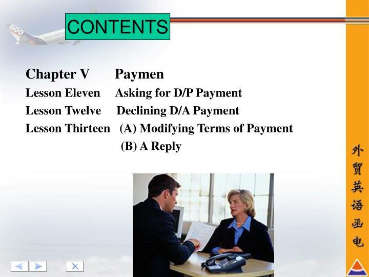 Chapter V       Paymen