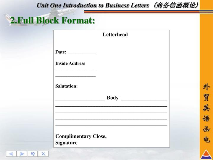 Unit One Introduction to BusinessLetters