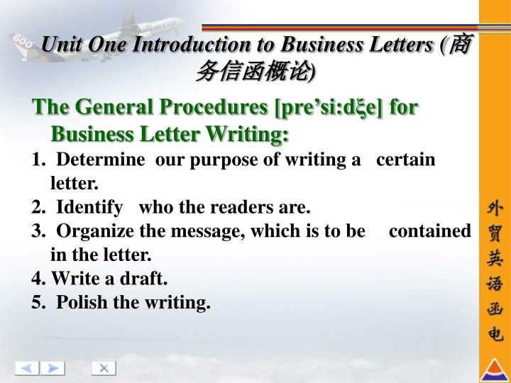 The General Procedures [pre'si:dξe] for Business Letter Writing: