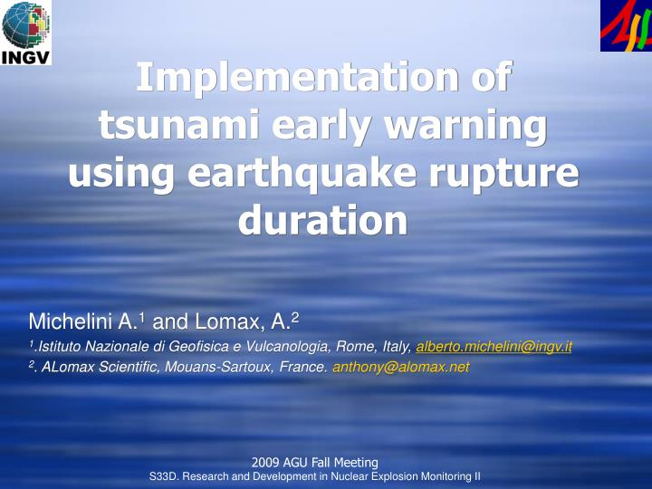 implementation of tsunami early warning using earthquake rupture duration n.