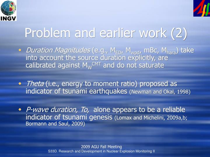 Problem and earlier work (2)