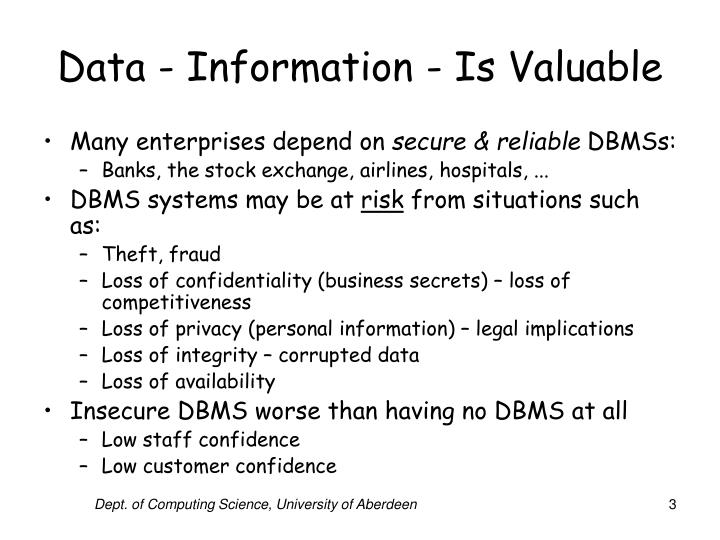 Data information is valuable