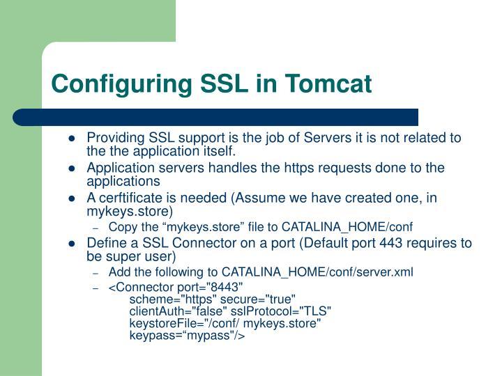 Configuring SSL in Tomcat
