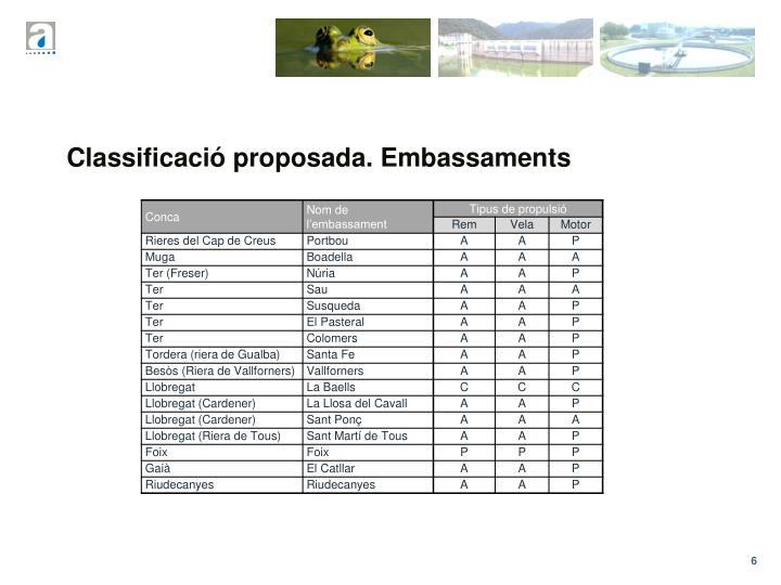 Classificació proposada. Embassaments