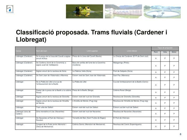 Classificació proposada. Trams fluvials (Cardener i Llobregat)