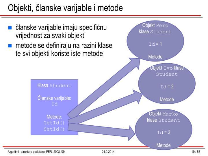 Objekti, članske varijable i metode