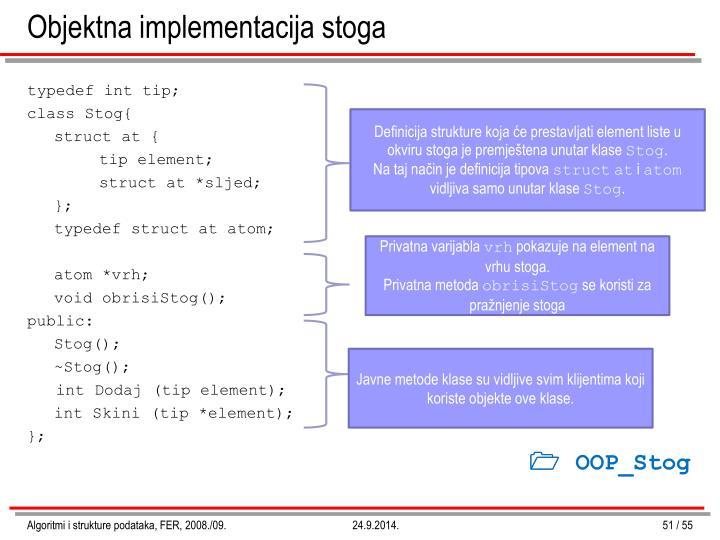 Objektna implementacija stoga