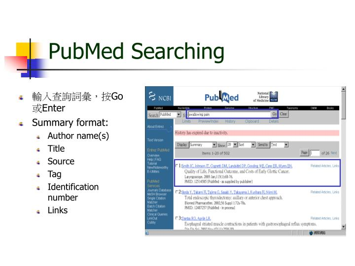 PubMed Searching