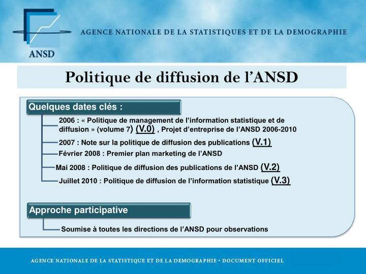 Politique de diffusion de l'ANSD