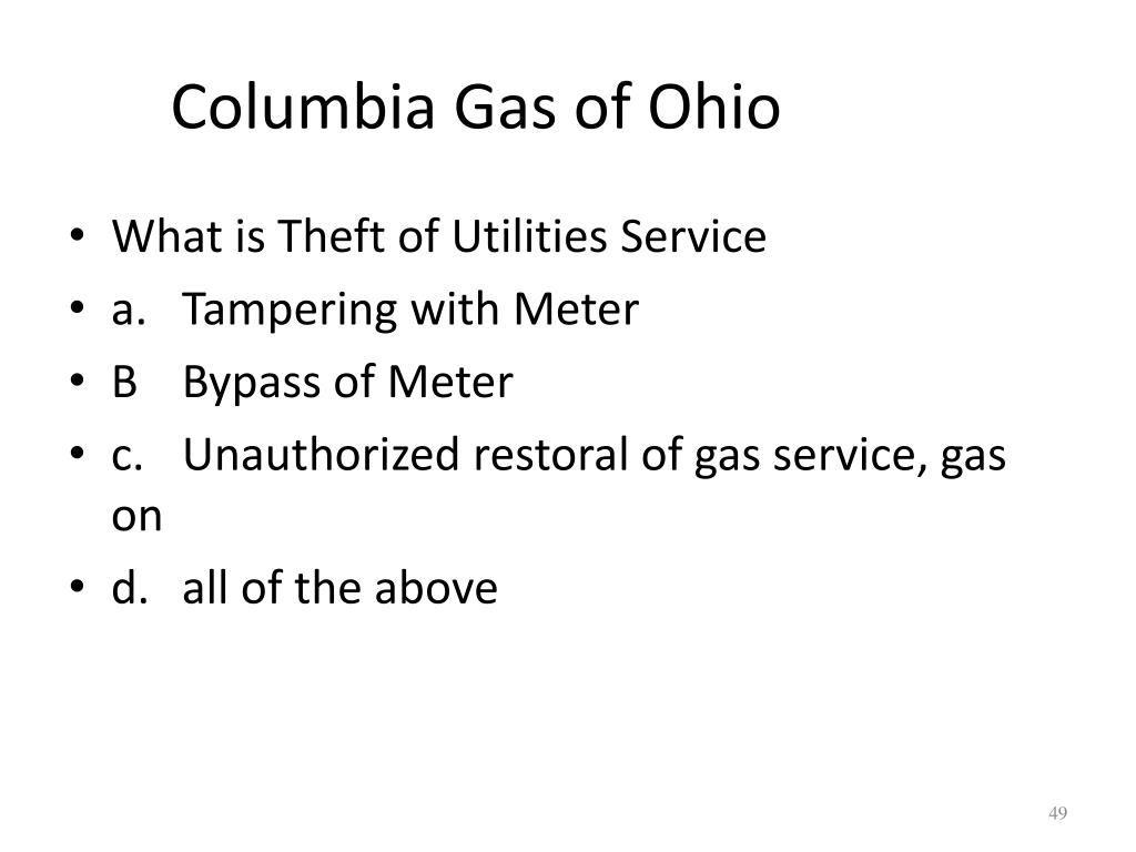 PPT - Columbia Gas of Ohio THEFT OF SERVICE 2011 PowerPoint