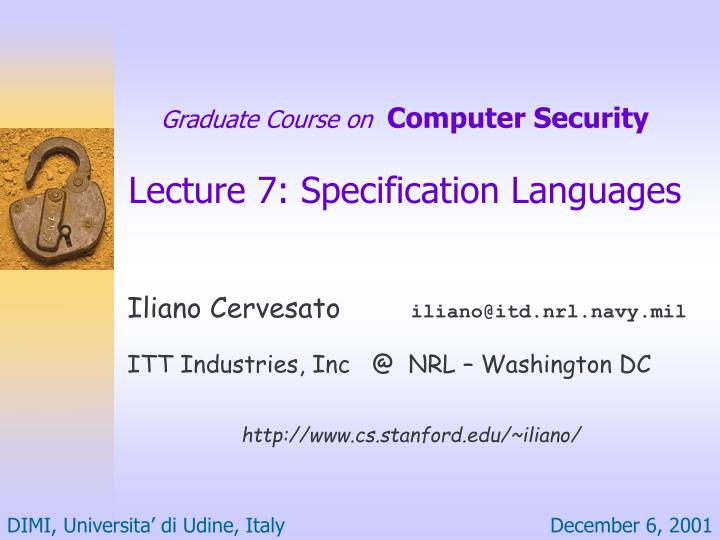 graduate course on computer security lecture 7 specification languages n.