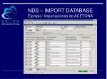 nds import database ejemplo importaciones de acetona