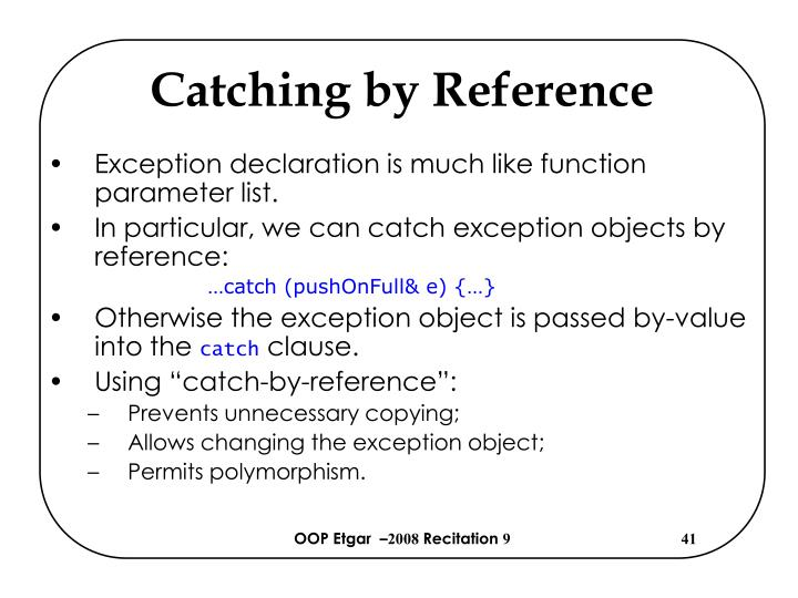 Catching by Reference