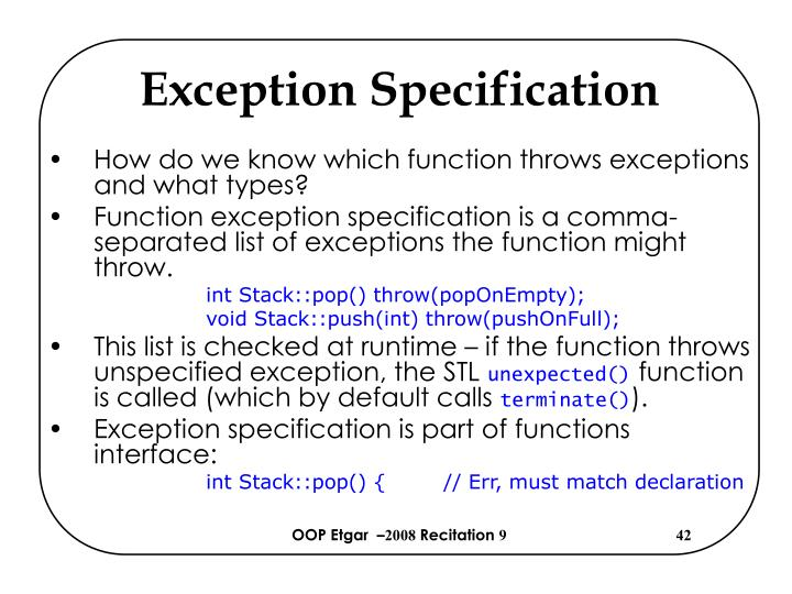 Exception Specification