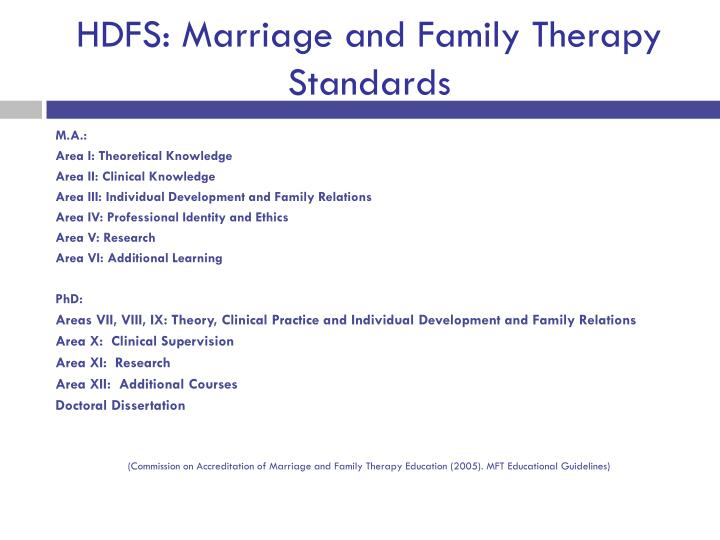 HDFS: Marriage and Family Therapy Standards
