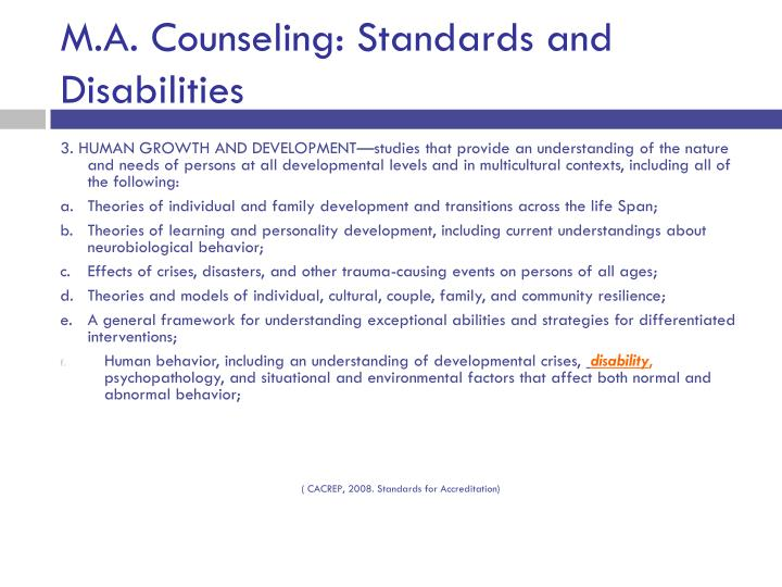M.A. Counseling: Standards and Disabilities