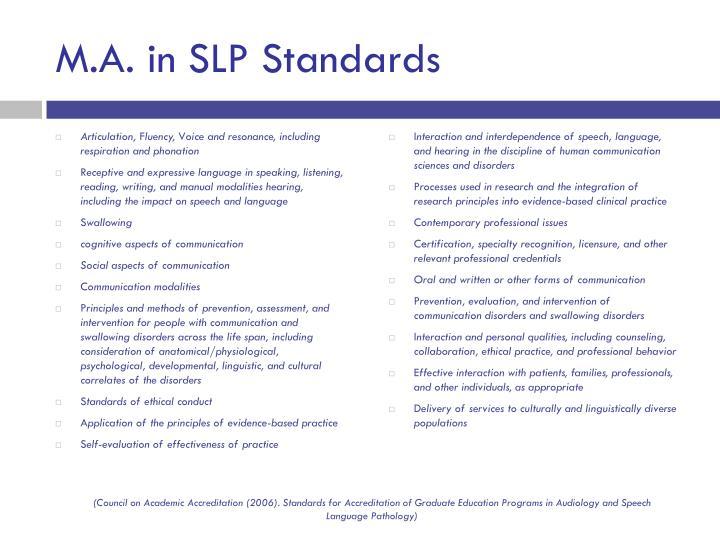 M.A. in SLP Standards