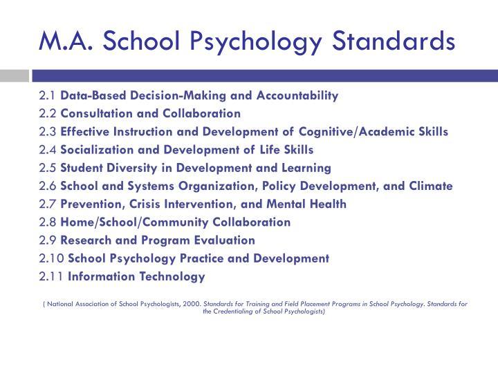 M.A. School Psychology Standards
