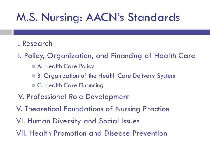 M.S. Nursing: AACN's Standards
