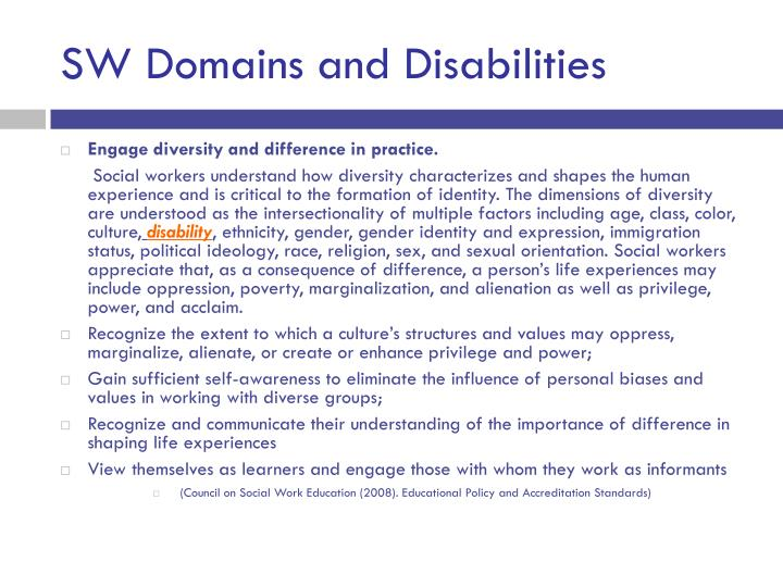 SW Domains and Disabilities