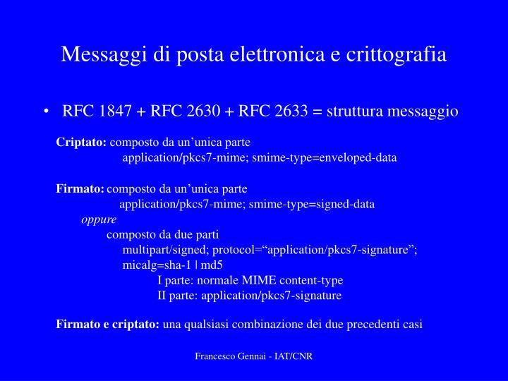 Messaggi di posta elettronica e crittografia