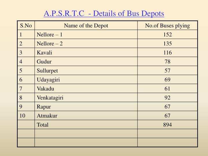 A.P.S.R.T.C  - Details of Bus Depots