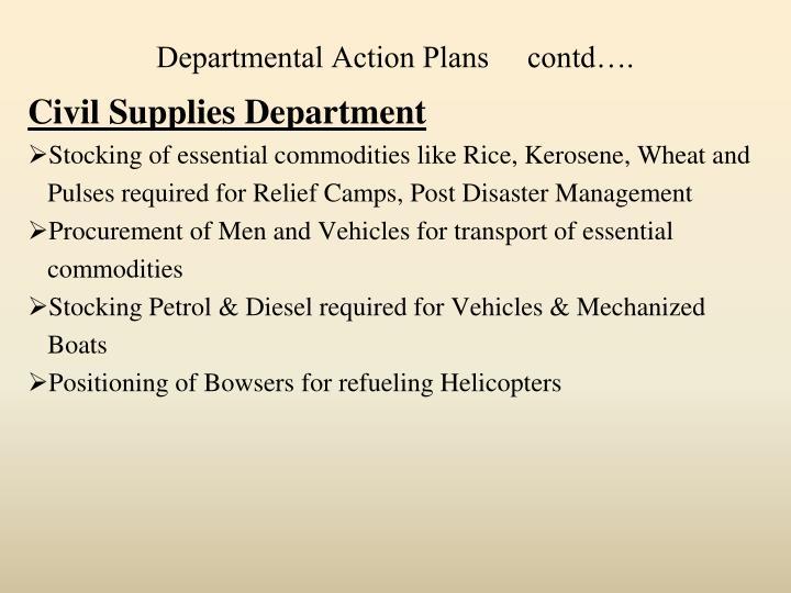 Departmental Action Plans     contd….
