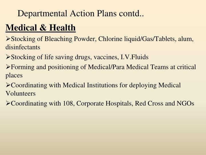 Departmental Action Plans contd..