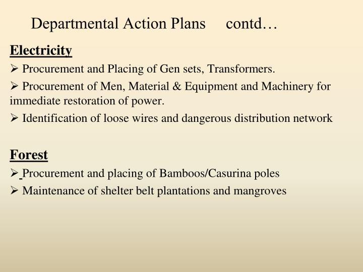 Departmental Action Plans     contd…
