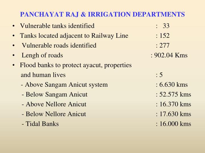 PANCHAYAT RAJ & IRRIGATION DEPARTMENTS