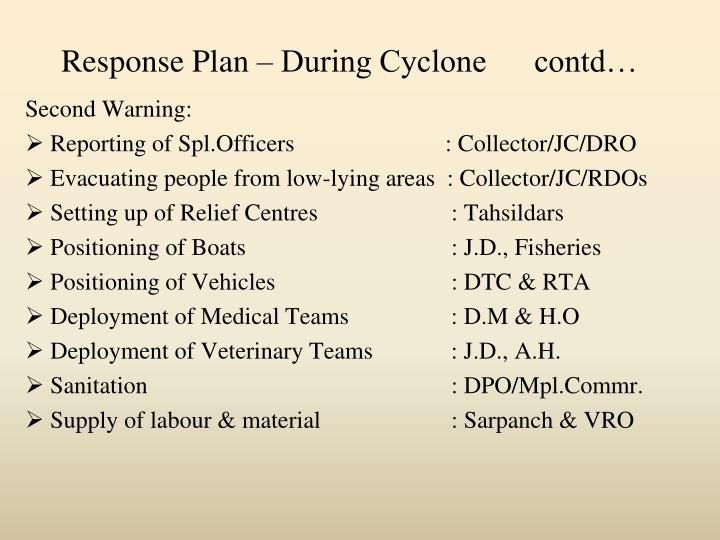 Response Plan – During Cyclone      contd…