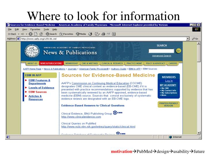Where to look for information