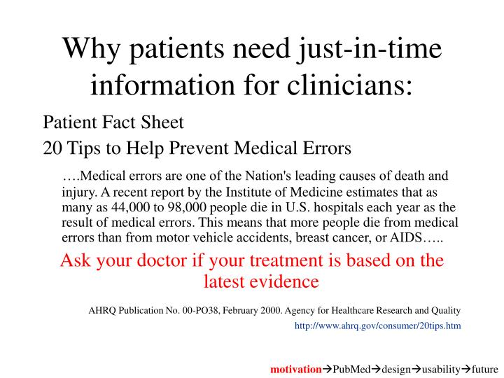 Why patients need just-in-time information for clinicians: