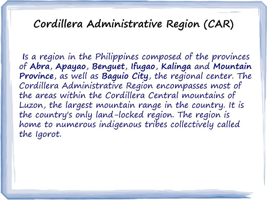 PPT - Cordillera Administrative Region PowerPoint Presentation - ID