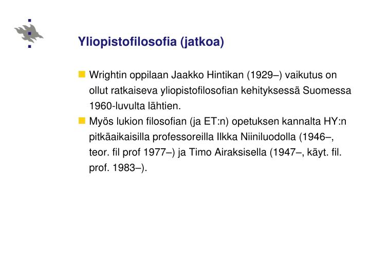 Yliopistofilosofia (jatkoa)