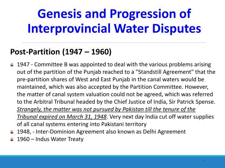 Post-Partition (1947 – 1960)