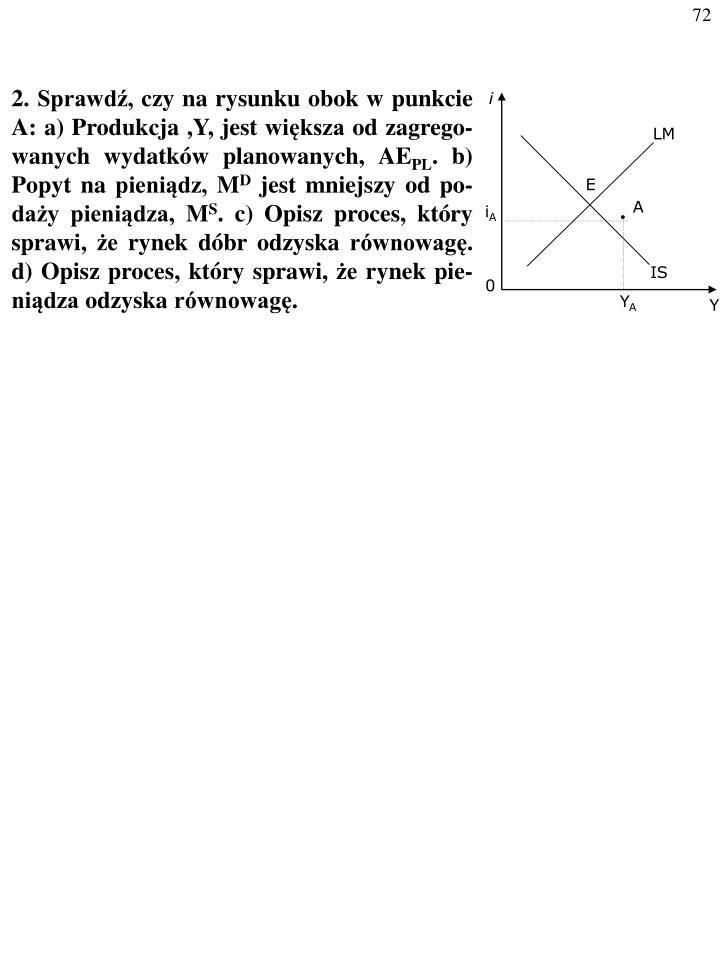 2. Sprawdź, czy na rysunku obok w punkcie A: a) Produkcja ,Y, jest większa od zagrego-wanych wydatków planowanych, AE