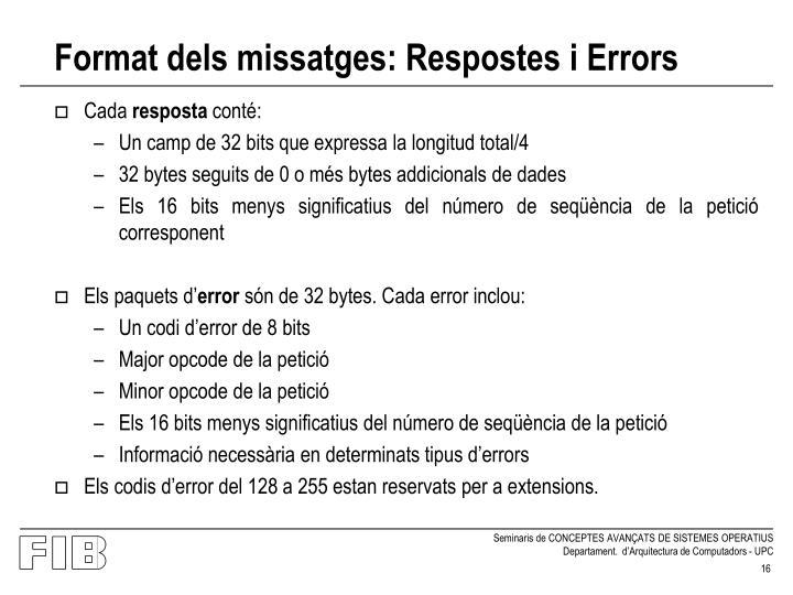 Format dels missatges: Respostes i Errors