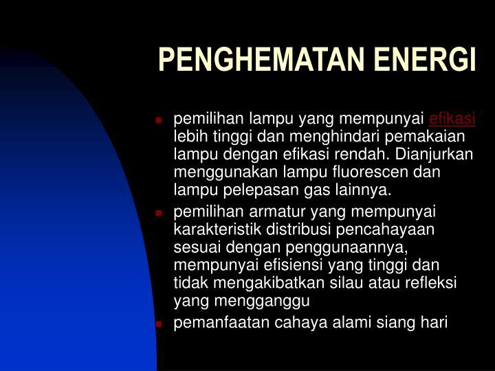 PENGHEMATAN ENERGI