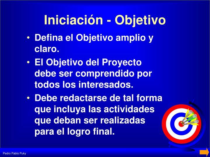 Iniciación - Objetivo