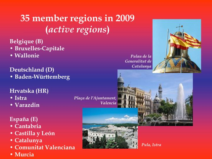 35 member regions in 2009 active regions