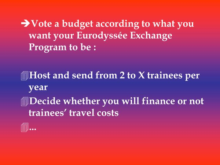 Vote a budget according to what you want your