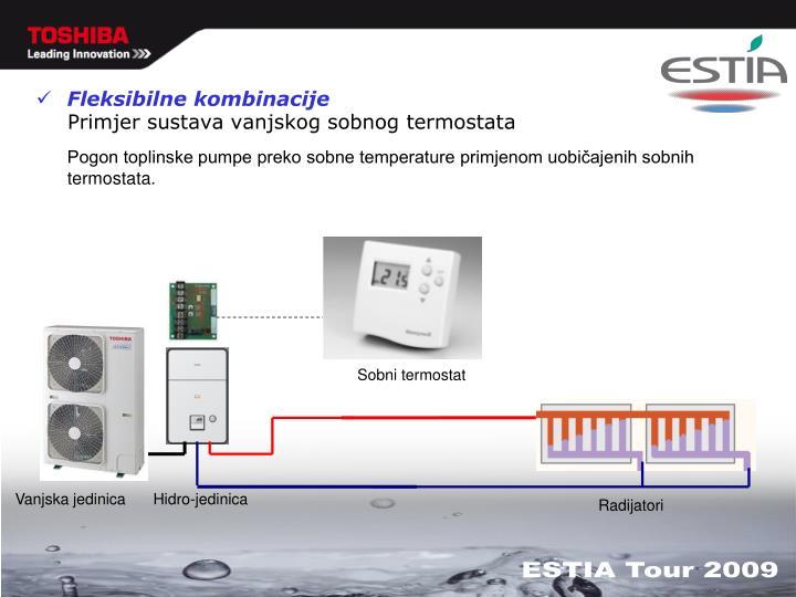 Primjer sustava vanjskog sobnog termostata